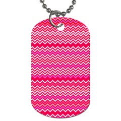 Valentine Pink And Red Wavy Chevron Zigzag Pattern Dog Tag (two Sides) by PaperandFrill