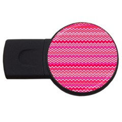 Valentine Pink And Red Wavy Chevron Zigzag Pattern Usb Flash Drive Round (2 Gb)  by PaperandFrill