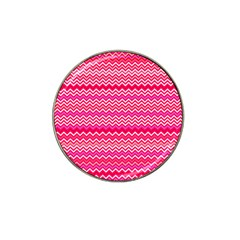 Valentine Pink And Red Wavy Chevron Zigzag Pattern Hat Clip Ball Marker (10 Pack) by PaperandFrill