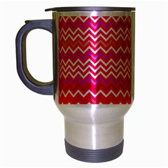 Valentine Pink And Red Wavy Chevron Zigzag Pattern Travel Mug (silver Gray) by PaperandFrill