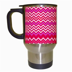 Valentine Pink And Red Wavy Chevron Zigzag Pattern Travel Mugs (white) by PaperandFrill