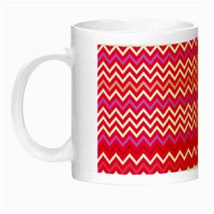 Valentine Pink And Red Wavy Chevron Zigzag Pattern Night Luminous Mugs by PaperandFrill