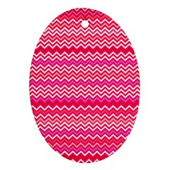 Valentine Pink And Red Wavy Chevron Zigzag Pattern Oval Ornament (two Sides) by PaperandFrill