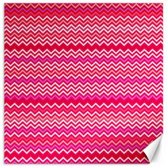 Valentine Pink And Red Wavy Chevron Zigzag Pattern Canvas 20  X 20   by PaperandFrill