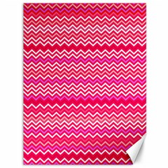 Valentine Pink And Red Wavy Chevron Zigzag Pattern Canvas 36  X 48   by PaperandFrill
