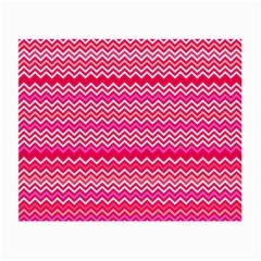 Valentine Pink And Red Wavy Chevron Zigzag Pattern Small Glasses Cloth (2 Side) by PaperandFrill