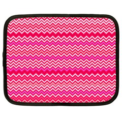 Valentine Pink And Red Wavy Chevron Zigzag Pattern Netbook Case (large) by PaperandFrill