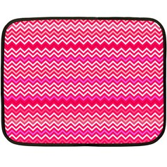 Valentine Pink And Red Wavy Chevron Zigzag Pattern Fleece Blanket (mini) by PaperandFrill
