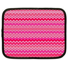 Valentine Pink And Red Wavy Chevron Zigzag Pattern Netbook Case (xl)  by PaperandFrill