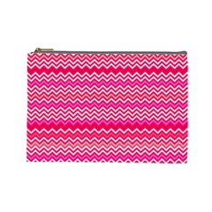 Valentine Pink And Red Wavy Chevron Zigzag Pattern Cosmetic Bag (large)  by PaperandFrill