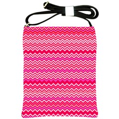Valentine Pink And Red Wavy Chevron Zigzag Pattern Shoulder Sling Bags by PaperandFrill