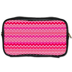 Valentine Pink And Red Wavy Chevron Zigzag Pattern Toiletries Bags by PaperandFrill