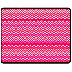 Valentine Pink And Red Wavy Chevron Zigzag Pattern Fleece Blanket (medium)  by PaperandFrill