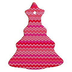 Valentine Pink And Red Wavy Chevron Zigzag Pattern Christmas Tree Ornament (2 Sides)