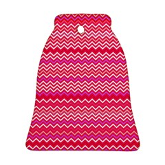 Valentine Pink And Red Wavy Chevron Zigzag Pattern Bell Ornament (2 Sides) by PaperandFrill