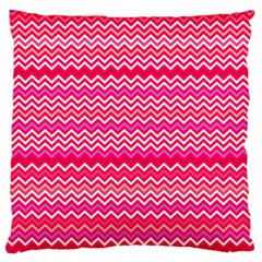 Valentine Pink And Red Wavy Chevron Zigzag Pattern Large Cushion Cases (one Side)  by PaperandFrill