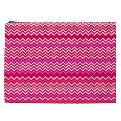 Valentine Pink And Red Wavy Chevron Zigzag Pattern Cosmetic Bag (xxl)  by PaperandFrill