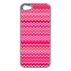 Valentine Pink And Red Wavy Chevron Zigzag Pattern Apple Iphone 5 Case (silver)