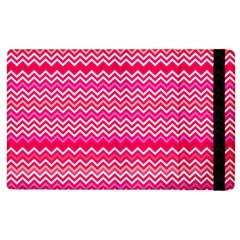Valentine Pink And Red Wavy Chevron Zigzag Pattern Apple Ipad 3/4 Flip Case by PaperandFrill