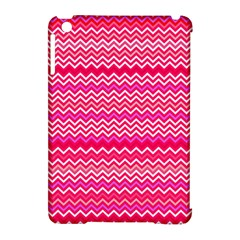 Valentine Pink And Red Wavy Chevron Zigzag Pattern Apple Ipad Mini Hardshell Case (compatible With Smart Cover) by PaperandFrill