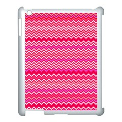 Valentine Pink And Red Wavy Chevron Zigzag Pattern Apple Ipad 3/4 Case (white) by PaperandFrill