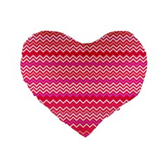 Valentine Pink And Red Wavy Chevron Zigzag Pattern Standard 16  Premium Heart Shape Cushions by PaperandFrill