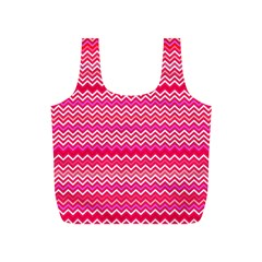 Valentine Pink And Red Wavy Chevron Zigzag Pattern Full Print Recycle Bags (s)  by PaperandFrill