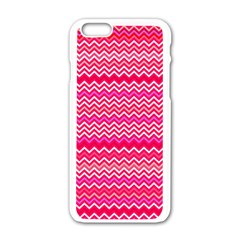 Valentine Pink And Red Wavy Chevron Zigzag Pattern Apple Iphone 6/6s White Enamel Case by PaperandFrill