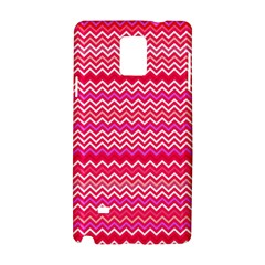 Valentine Pink And Red Wavy Chevron Zigzag Pattern Samsung Galaxy Note 4 Hardshell Case by PaperandFrill