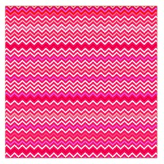Valentine Pink And Red Wavy Chevron Zigzag Pattern Large Satin Scarf (square) by PaperandFrill