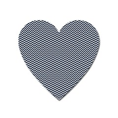 Blue And White Chevron Wavy Zigzag Stripes Heart Magnet by PaperandFrill