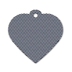 Blue And White Chevron Wavy Zigzag Stripes Dog Tag Heart (two Sides) by PaperandFrill