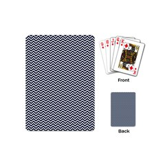 Blue And White Chevron Wavy Zigzag Stripes Playing Cards (mini)