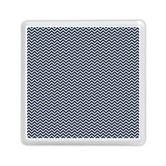 Blue And White Chevron Wavy Zigzag Stripes Memory Card Reader (square)
