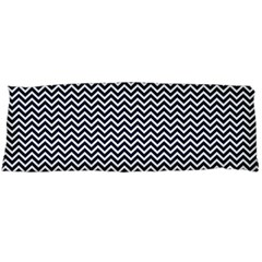 Blue And White Chevron Wavy Zigzag Stripes Body Pillow Cases (dakimakura)  by PaperandFrill