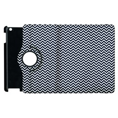 Blue And White Chevron Wavy Zigzag Stripes Apple Ipad 2 Flip 360 Case by PaperandFrill