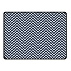 Blue And White Chevron Wavy Zigzag Stripes Double Sided Fleece Blanket (small)