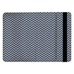 Blue And White Chevron Wavy Zigzag Stripes Samsung Galaxy Tab Pro 12 2  Flip Case by PaperandFrill
