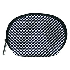 Blue And White Chevron Wavy Zigzag Stripes Accessory Pouches (medium)  by PaperandFrill