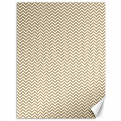 Gold And White Chevron Wavy Zigzag Stripes Canvas 36  X 48   by PaperandFrill