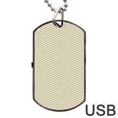 Gold And White Chevron Wavy Zigzag Stripes Dog Tag Usb Flash (one Side) by PaperandFrill