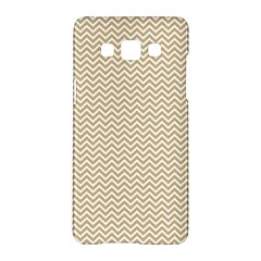 Gold And White Chevron Wavy Zigzag Stripes Samsung Galaxy A5 Hardshell Case  by PaperandFrill