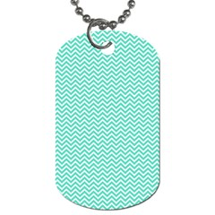 Tiffany Aqua And White Chevron Wavy Zigzag Stripes Dog Tag (two Sides) by PaperandFrill