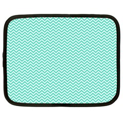 Tiffany Aqua And White Chevron Wavy Zigzag Stripes Netbook Case (xl)  by PaperandFrill