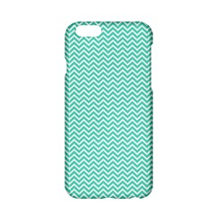 Tiffany Aqua And White Chevron Wavy Zigzag Stripes Apple Iphone 6/6s Hardshell Case by PaperandFrill