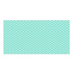 Tiffany Aqua And White Chevron Wavy Zigzag Stripes Satin Shawl by PaperandFrill