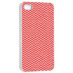 Red And White Chevron Wavy Zigzag Stripes Apple Iphone 4/4s Seamless Case (white) by PaperandFrill