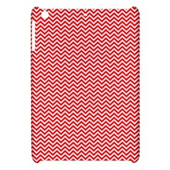 Red And White Chevron Wavy Zigzag Stripes Apple Ipad Mini Hardshell Case by PaperandFrill