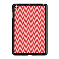 Red And White Chevron Wavy Zigzag Stripes Apple Ipad Mini Case (black) by PaperandFrill