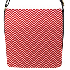 Red And White Chevron Wavy Zigzag Stripes Flap Messenger Bag (s) by PaperandFrill